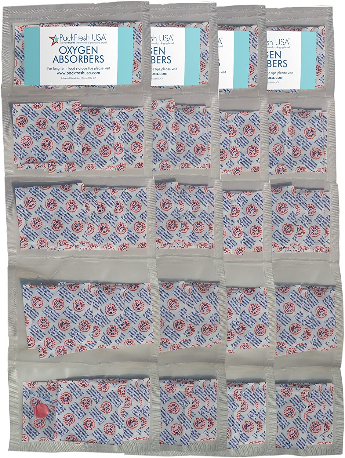 300cc Oxygen Absorber Compartment Packs (100, in 20 Compartments) with PackFreshUSA LTFS Guide