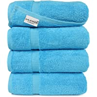 SALBAKOS Turkish Cotton Large Bathroom Hotel Towel Set, 700 GSM, 27 by 54 Inch, Pack of 4, Aqua