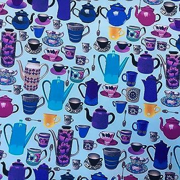 Celeste BG utensilios de cocina impresión 100% tela de algodón para coser, costura,