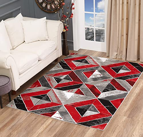 GLORY RUGS Area Rug Abstract Diamond Modern Modern Distressed Carpet Bedroom Living Room Contemporary Dining Accent Sevilla Collection 5504A 8×10, Red
