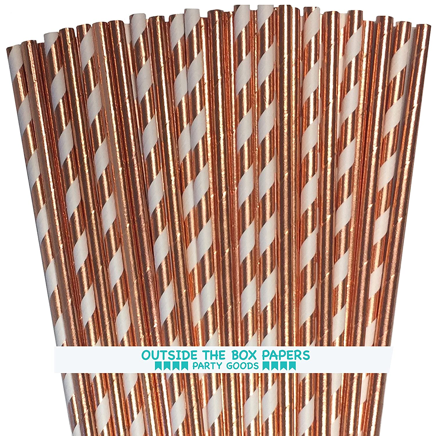 Outside the Box Papers Rose Gold Solid and Stripe Foil Paper Straws 7.75 Inches 100 Pack Rose Gold, White