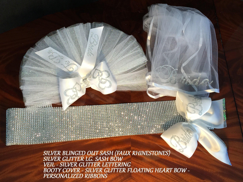 BLINGED OUT sash, Bachelorette Party - 4 piece PERSONALIZED BOOTY VEIL, (Bikini Veil) Bachelorette Set. Hair Veil, Zazzle (faux rhinestones) Sash & Personalized Sash Bow, by SashANation