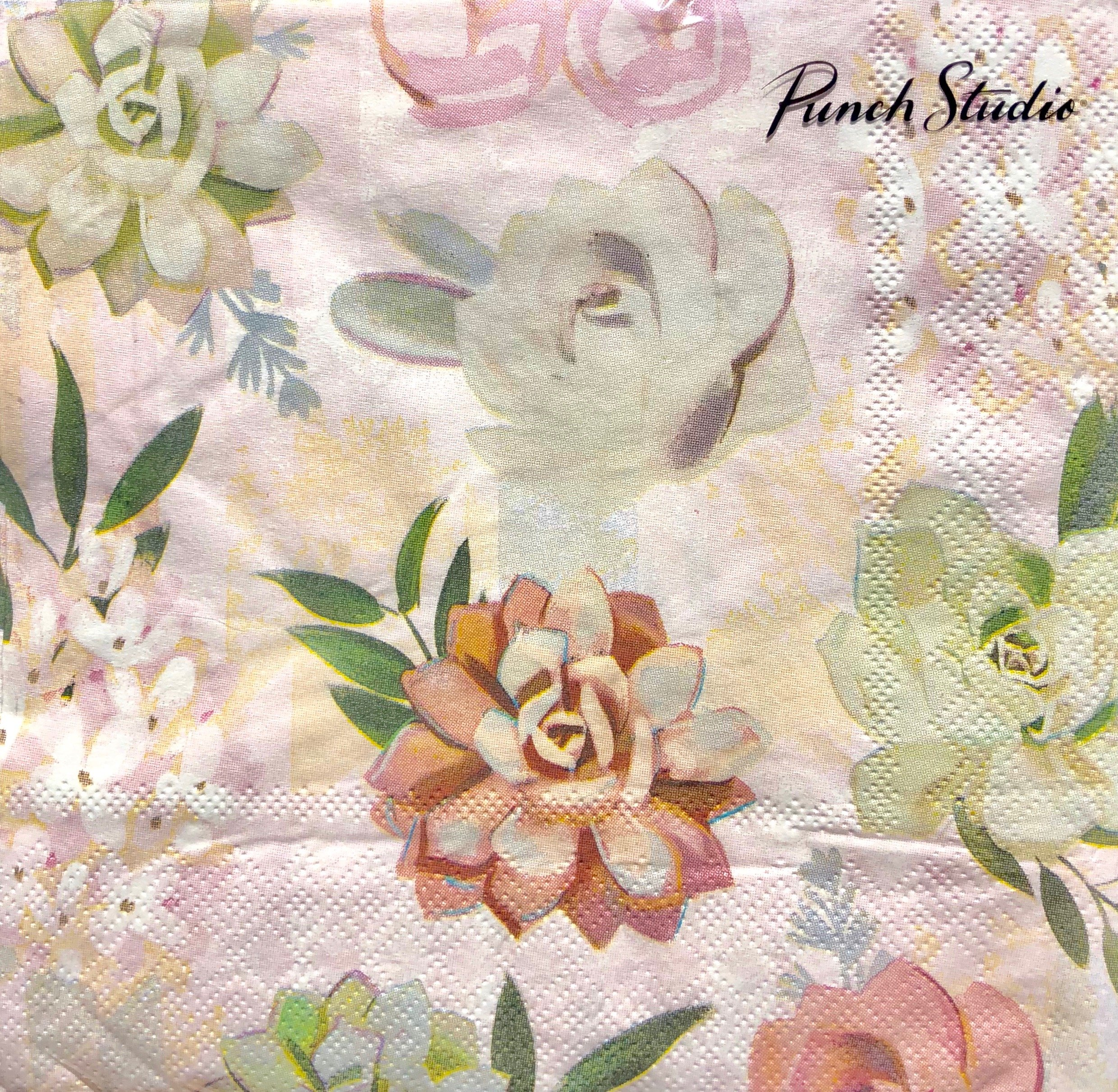 Punch Studio Muted Succulent Paper Luncheon Napkins 12669, Set of 40