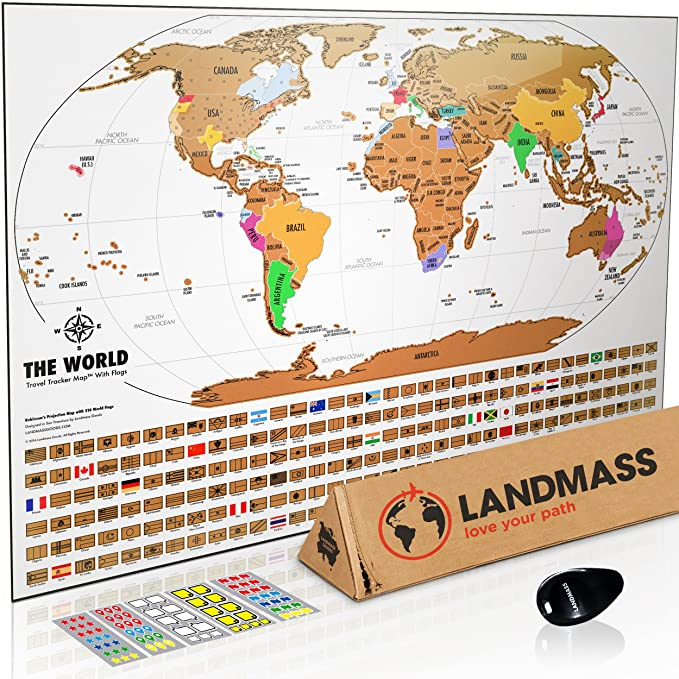 amazoncom landmass scratch off world map poster original travel tracker map print wflags us states outlined clean design and vibrant colors to make