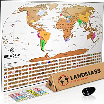 Amazon landmass scratch off world map poster original travel landmass scratch off world map poster original travel tracker map print w flags gumiabroncs Image collections