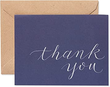 Navy Thank You card Thank you note Navy blue Thank you postcards Wedding thank you cards Folded thank you cards