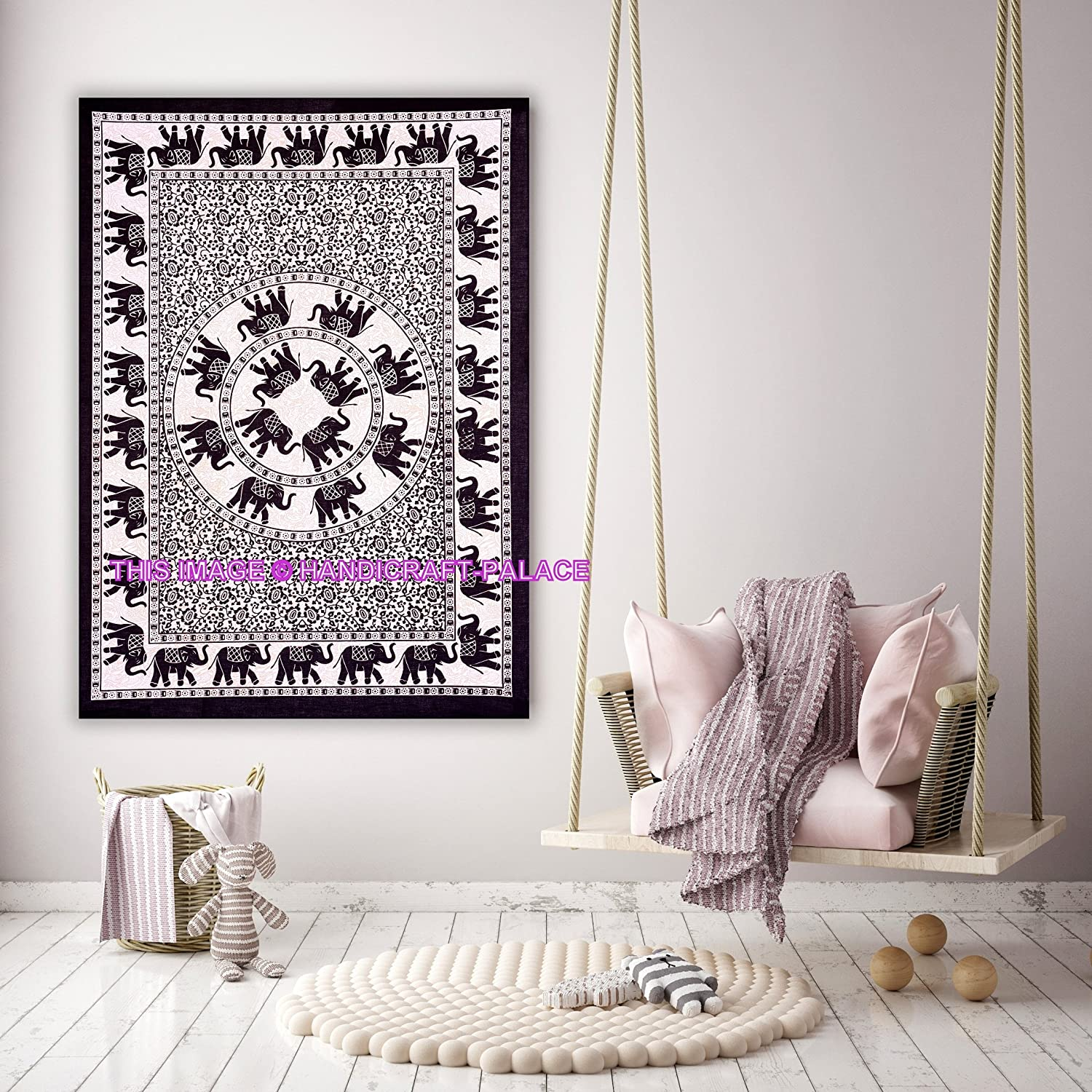 Indian Handmade Cotton Yoga Mat Tapestry Poster Ethnic Wall Hanging Table Cover