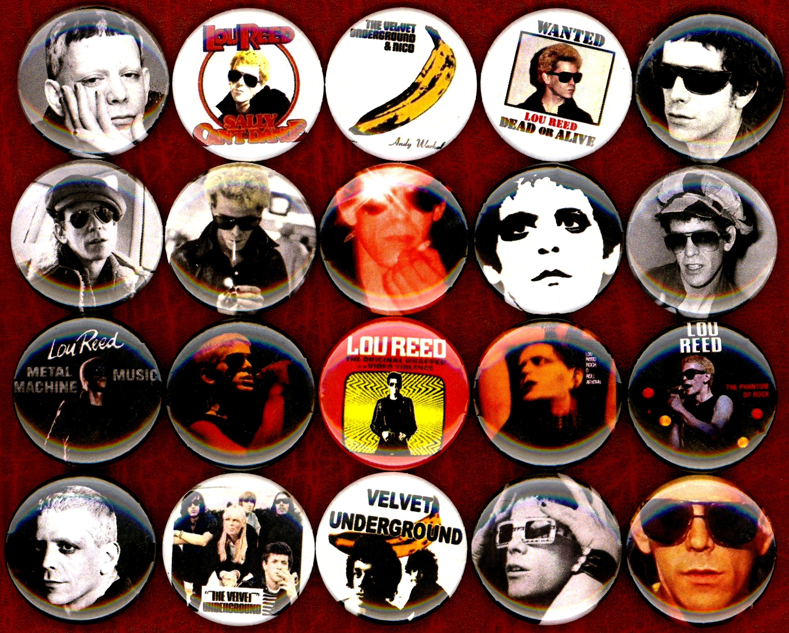 Lou Reed set of 20 NEW 1 inch pins buttons badges velvet underground RIP by Panic Buttons (Image #3)