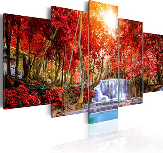Tiger Mountain Waterfall Nature Landscape Canvas Prints Painting Wall Art 5PCS