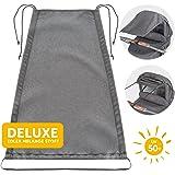 Zamboo - Telo Parasole Universale DELUXE per Carrozzina e Passeggino | Protezione Solare per Passeggino e Navicella | Regolabile con protezione UV 50 - Funzione Tenda - Grigio Melange