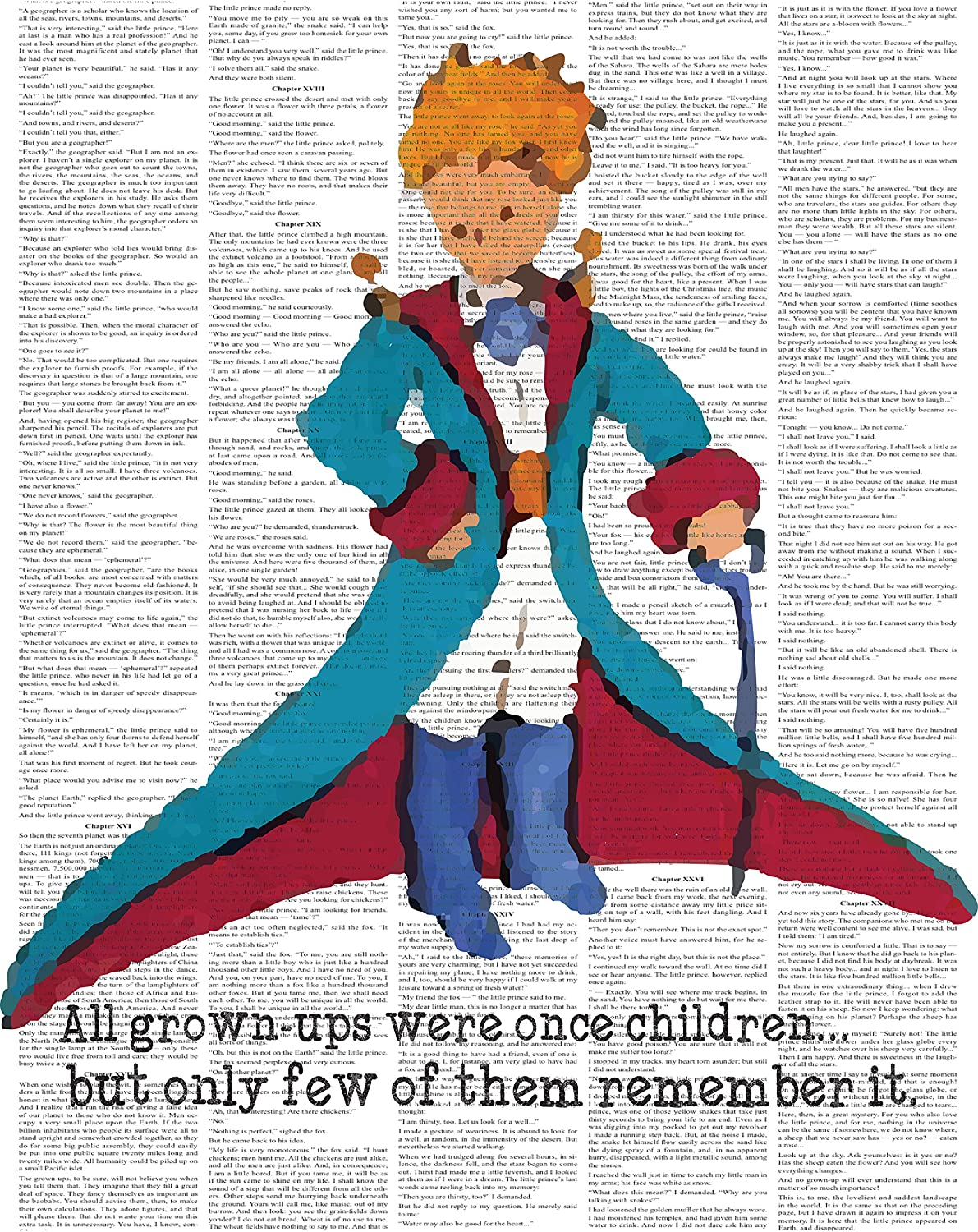 Little Prince Upcycled Like Print, The Little Prince Colorful Inspired Quote Le Petit Prince Upcycled Like Art Print Wall Decor Quotes Art Nursery Wall Hanging, Wall Décor For Kids