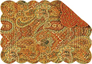 C&F Home Tangiers Paisley Traditional Cotton Quilted Oblong Rectangular Cotton Quilted Tabletop Cotton Placemat Set of 6 Rectangular Placemat Set of 6 Orange