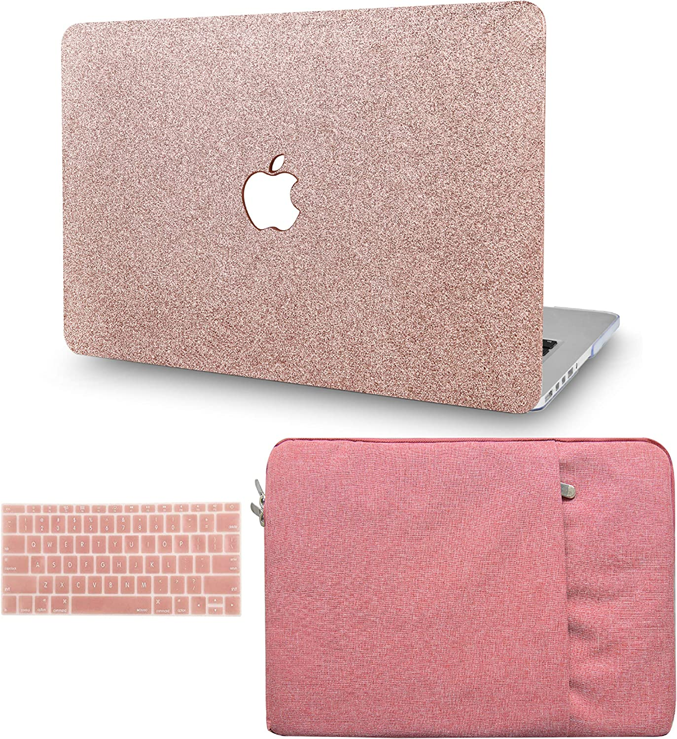 "KECC Laptop Case for MacBook Air 13"" Retina (2020/2019/2018, Touch ID) w/Keyboard Cover + Sleeve Plastic Hard Shell Case A1932 3 in 1 Bundle (Rose Gold Sparkling)"