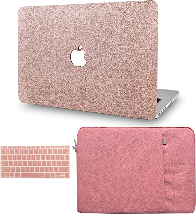 """KECC Laptop Case for MacBook Air 13"""" Retina (2020/2019/2018, Touch ID) w/Keyboard Cover + Sleeve Plastic Hard Shell Case A1932 3 in 1 Bundle (Rose Gold Sparkling)"""
