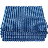 Gryeer Bamboo and Microfiber Kitchen Towels - Super Absorbent, Large and Thick Dish Towels (4 pack, 20x30 Inch) - One Side Ribbed One Side Smooth Tea Towels - Blue