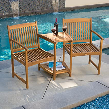 Amazon.com  Outdoor Patio Furniture Adjoining Chairs \u0026 Table Two-Seater Bench  Garden \u0026 Outdoor : wooden patio furniture - amorenlinea.org