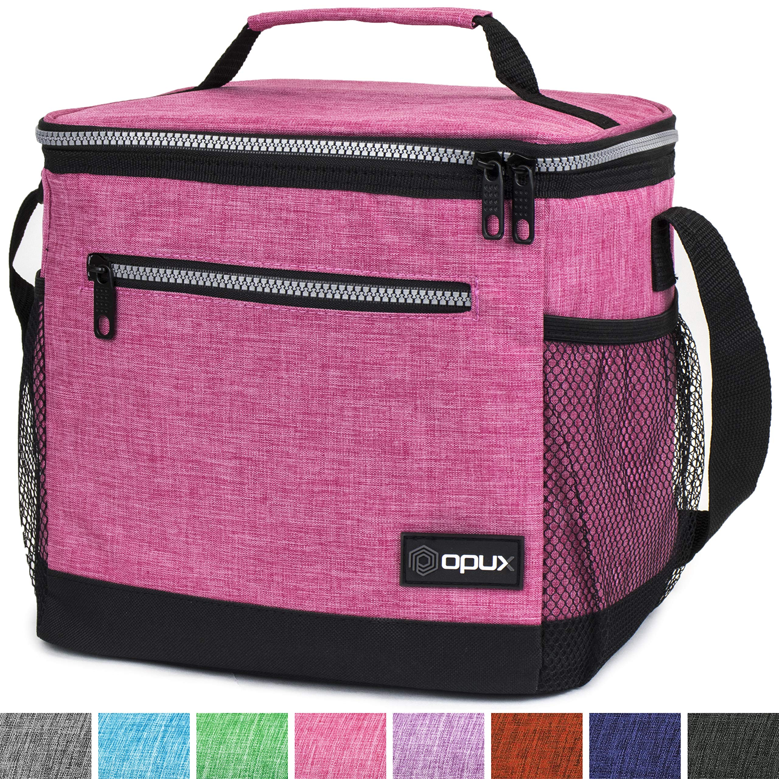 OPUX Premium Insulated Lunch Bag with Shoulder Strap | Lunch Box for Adults, Kids | Soft Leak Proof Liner | Tall Lunch Cooler for Office, School | Fits 18 Cans (Heather Pink)