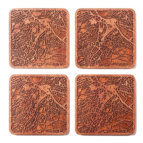best sneakers 171c0 b65c9 Stuttgart Map Coaster by O3 Design Studio, Set Of 4, Sapele Wooden Coaster  With City Map, Handmade