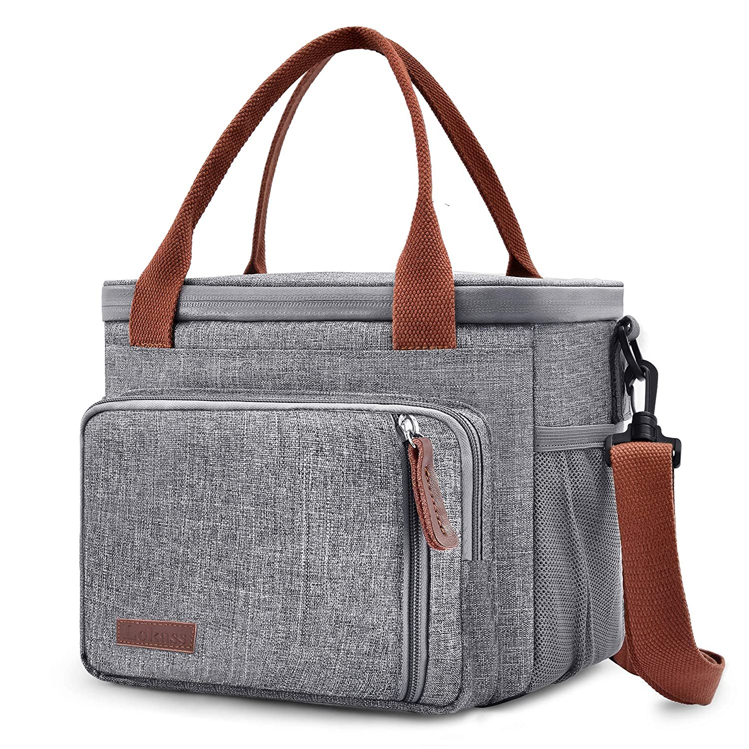 UTOTEBAG Cooler Bag Nylon Insulated Cooler Box Wide Open Lunch Bag Leak-Proof Lunch Tote Large Capacity Cooler Tote with Removable Shoulder Strap for Men Picnic Beach Camping Fishing Grey
