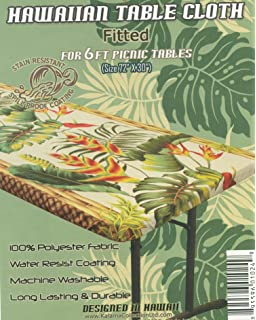 Hawaiian Tropical Flower Fitted Tablecloth (Fits 6 Ft Picnic Tables,  Spicing Up Any Party