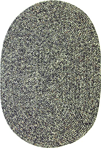 Sabrina Tweed Indoor Outdoor Oval Braided Rug, 5 by 8-Feet, Graphite