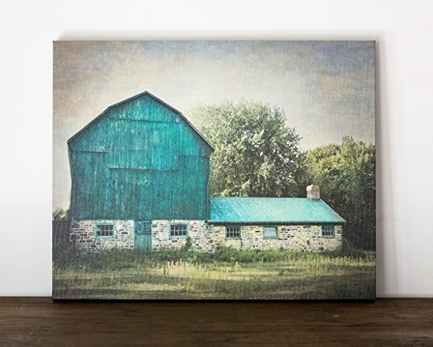 16x20 Inch Green Barn Canvas Wrap, Rustic Country Wall Art