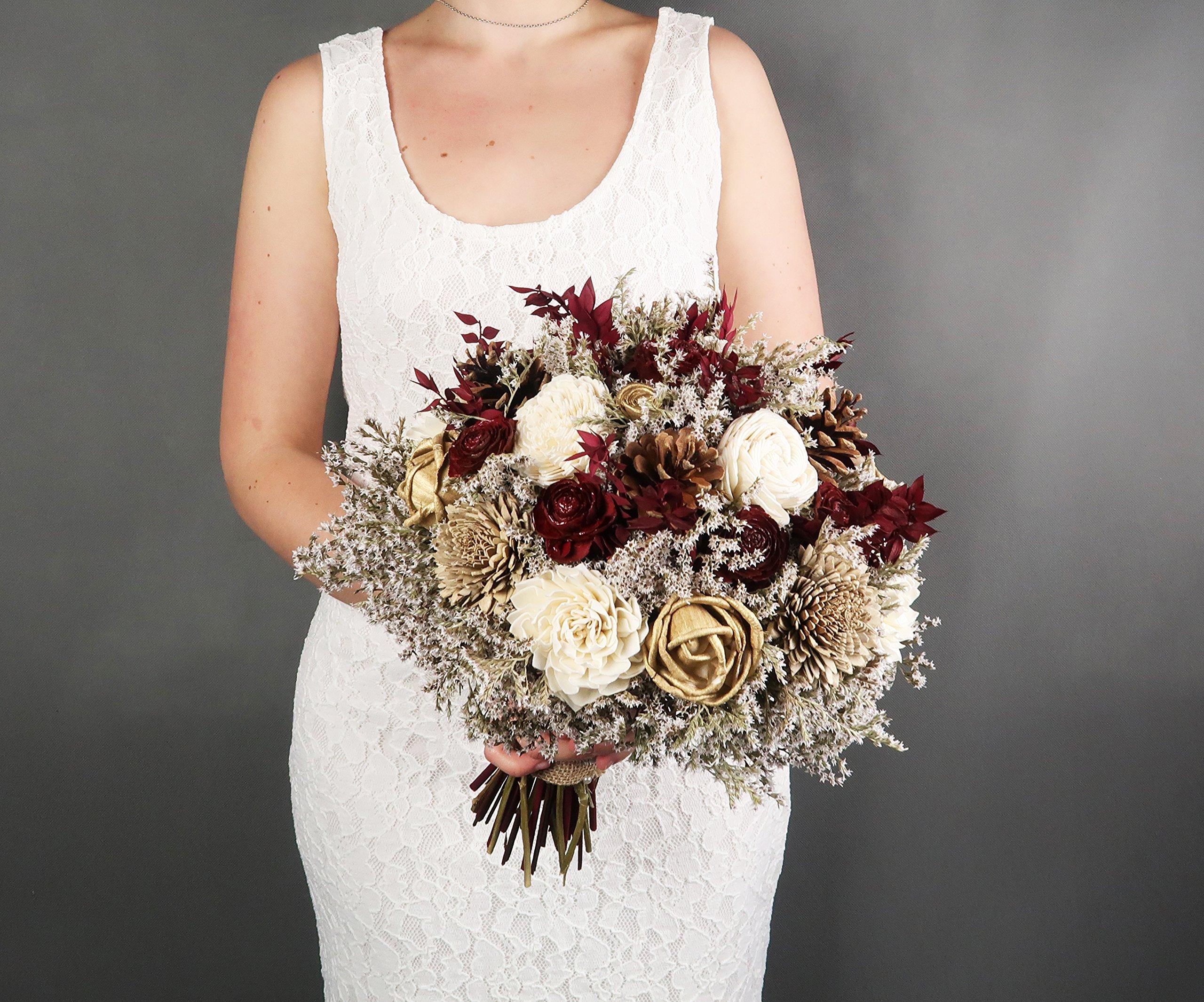 Bridal-Bouquet-Ivory-Brown-Burgundy-Gold-Pine-Cone-Sola-Flowers-Rustic-Woodland-Autumn-Winter-Wedding