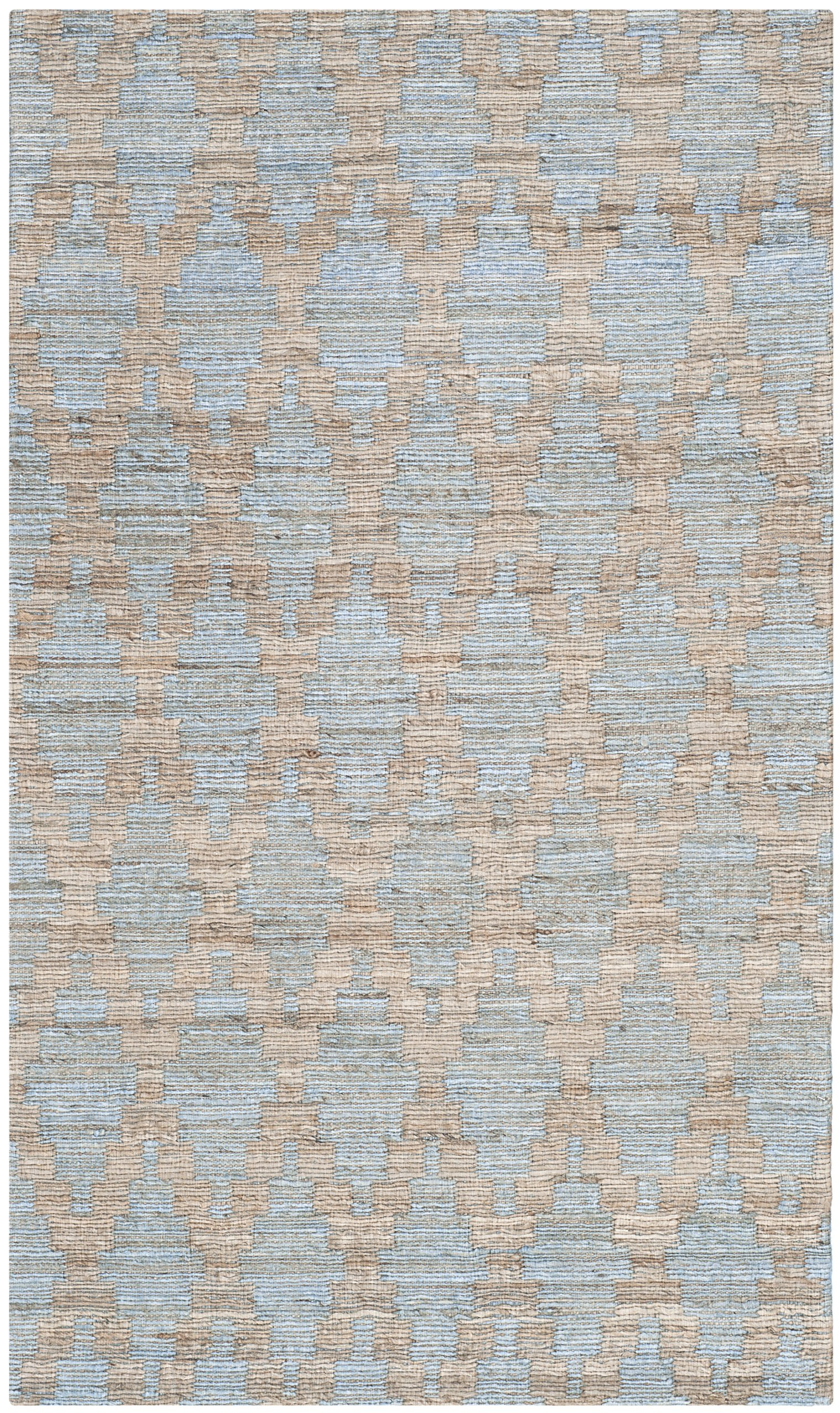 Safavieh Cape Cod Collection CAP413A Hand Woven Geometric Light Blue and Gold Jute and Cotton Area Rug (2' x 3')