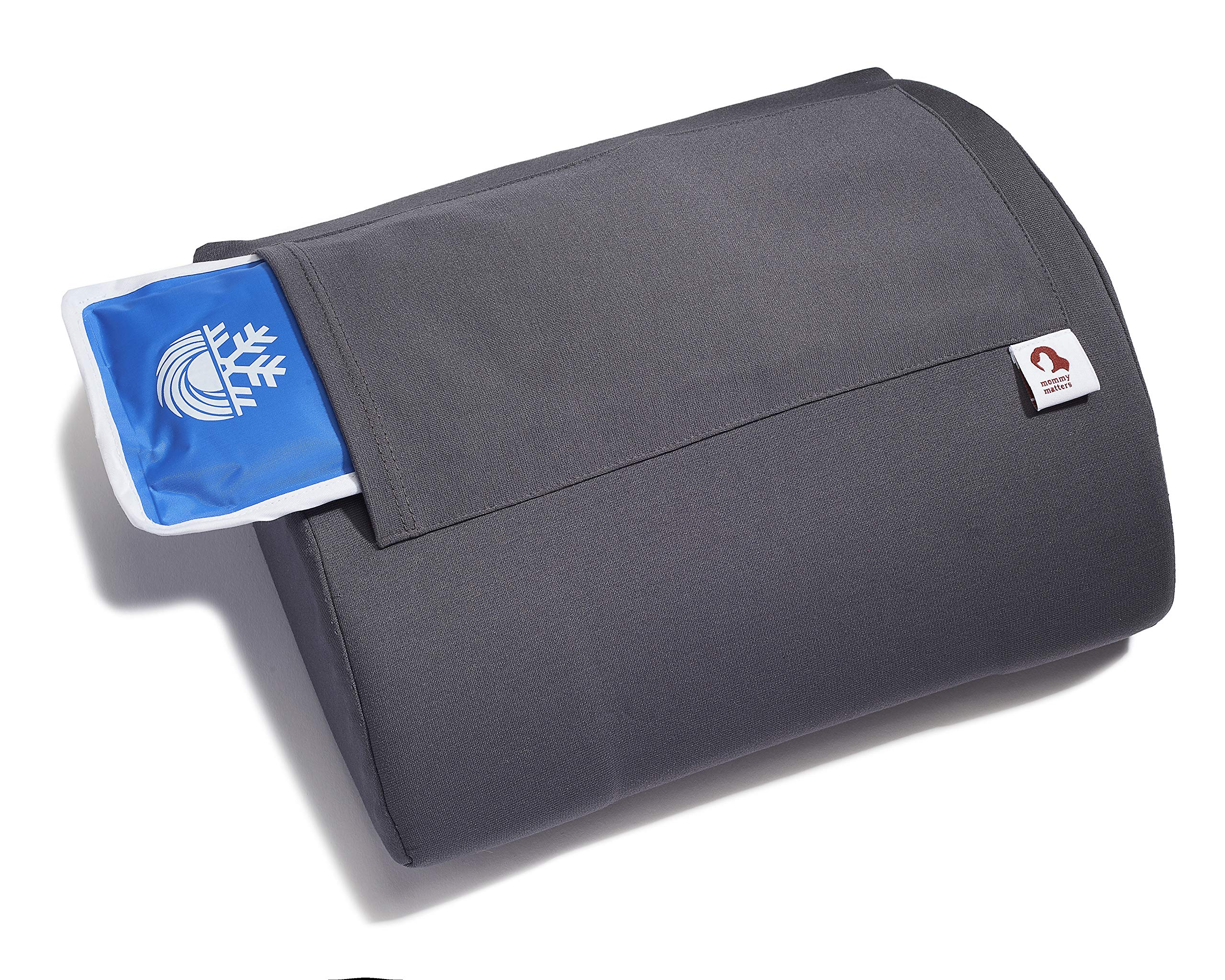 Mommy Matters Portable Pregnancy/Maternity Pillow - Foam Cushion Providing Pregnant Women with Lower Back Pain Relief and Lumbar Support, with Hot/Cold Gel Pack and Removable Cover (Charcoal Gray)