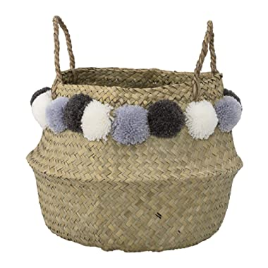 Bloomingville Seagrass Basket, 15 Inch, Natural with Blue Pom Poms