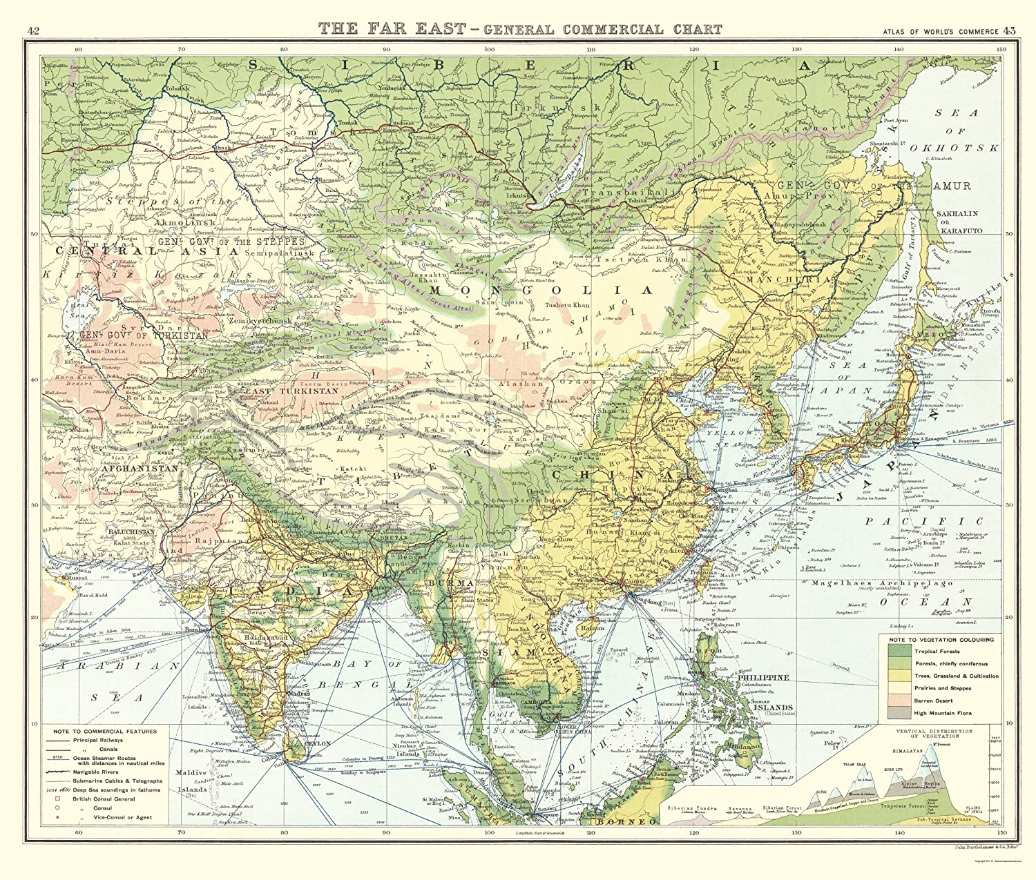 Map Of Asia Far East.Amazon Com Maps Of The Past Asia Far East General Commercial Chart