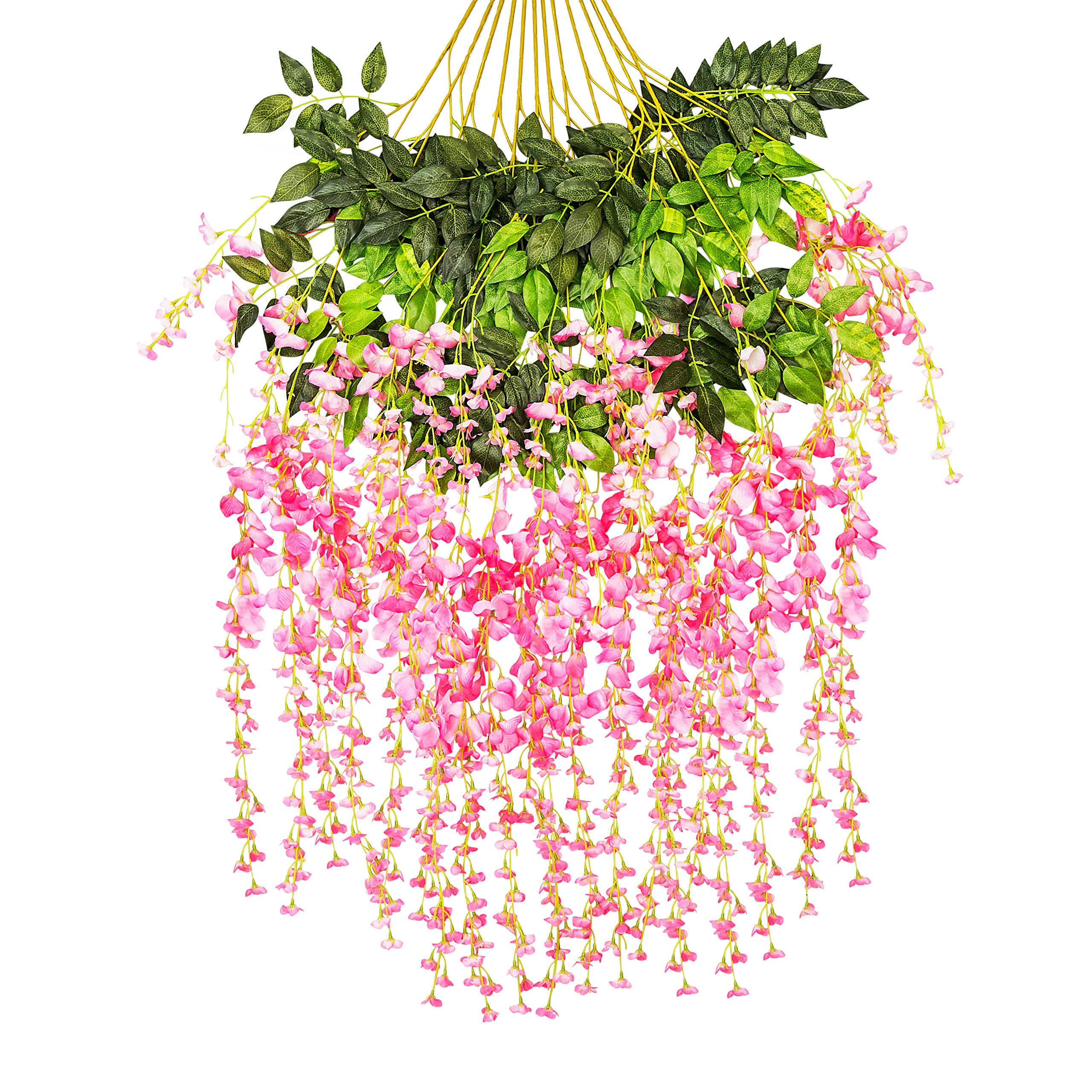 Ivyue 12sPack Wisteria Vine Artificial Silk Wisteria Lane Rattan Fake Wisteria Artificial Flowers Garland Hanging Flowers Wisteria Bush for Home Garden Party Wall Wedding Decoration 3.6feet (Pink)