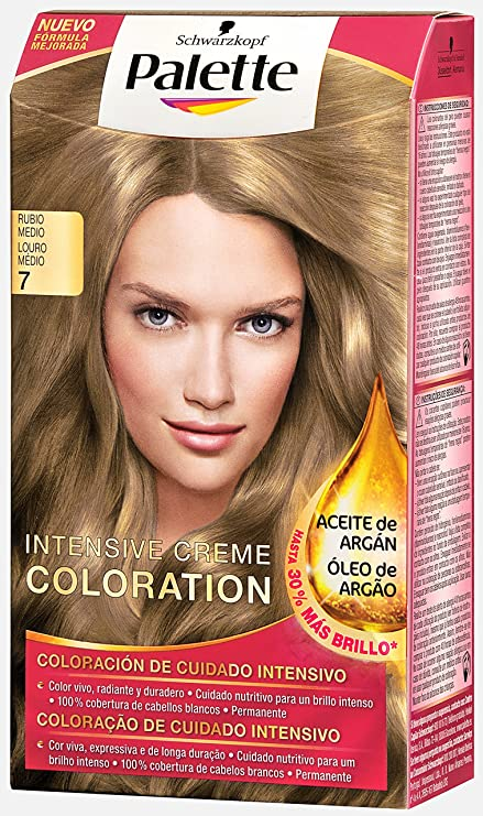 Palette Intense Color Cream Coloración Permanente, Tono 7 Rubio Medio Toffee - 115 ml