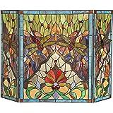 Chloe Lighting Anisoptera Purity, Tiffany-Glass Dragonfly 3pcs Folding Fireplace Screen 44x28