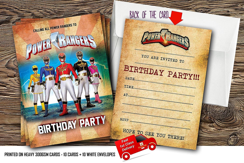 10 invitaciones de cumpleaños con diseño de los Power Rangers, con 10 sobres gratis, 10