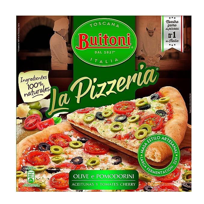 Buitoni La Pizzeria Pizza de Queso Mozzarella, Aceitunas y Tomate Cherry, 365 gr