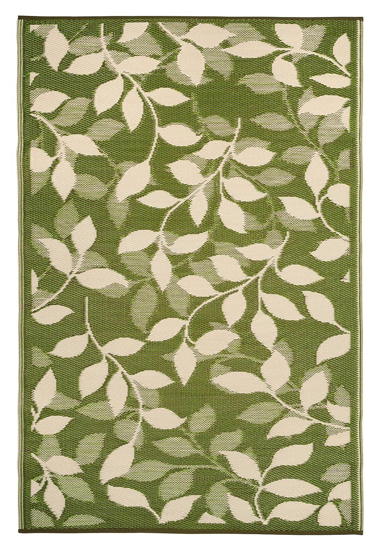 Fab Hab - Bali - Waldgrün & Creme - Teppich  Matte für den Innen- und Außenbereich (150 cm x 240 cm)