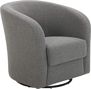 Amazon Brand – Rivet Rione Modern Upholstered Swivel Chair with Rounded Back, 30.3