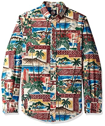 45d6c297b Reyn Spooner Men's Christmas Long Sleeve Hawaiian Shirt, 2018-Maroon, ...
