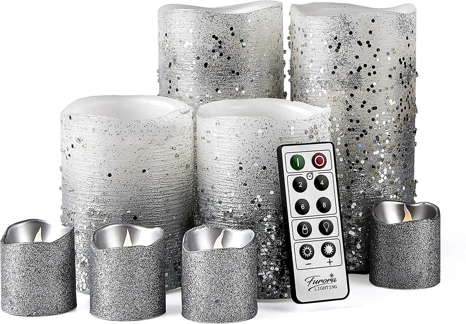 Furora LIGHTING LED Flameless Candles with Remote Control, Set of 8, Real Wax Battery Operated Pillars and Votives LED Candles with Flickering Flame and Timer Featured - Silver Glittery