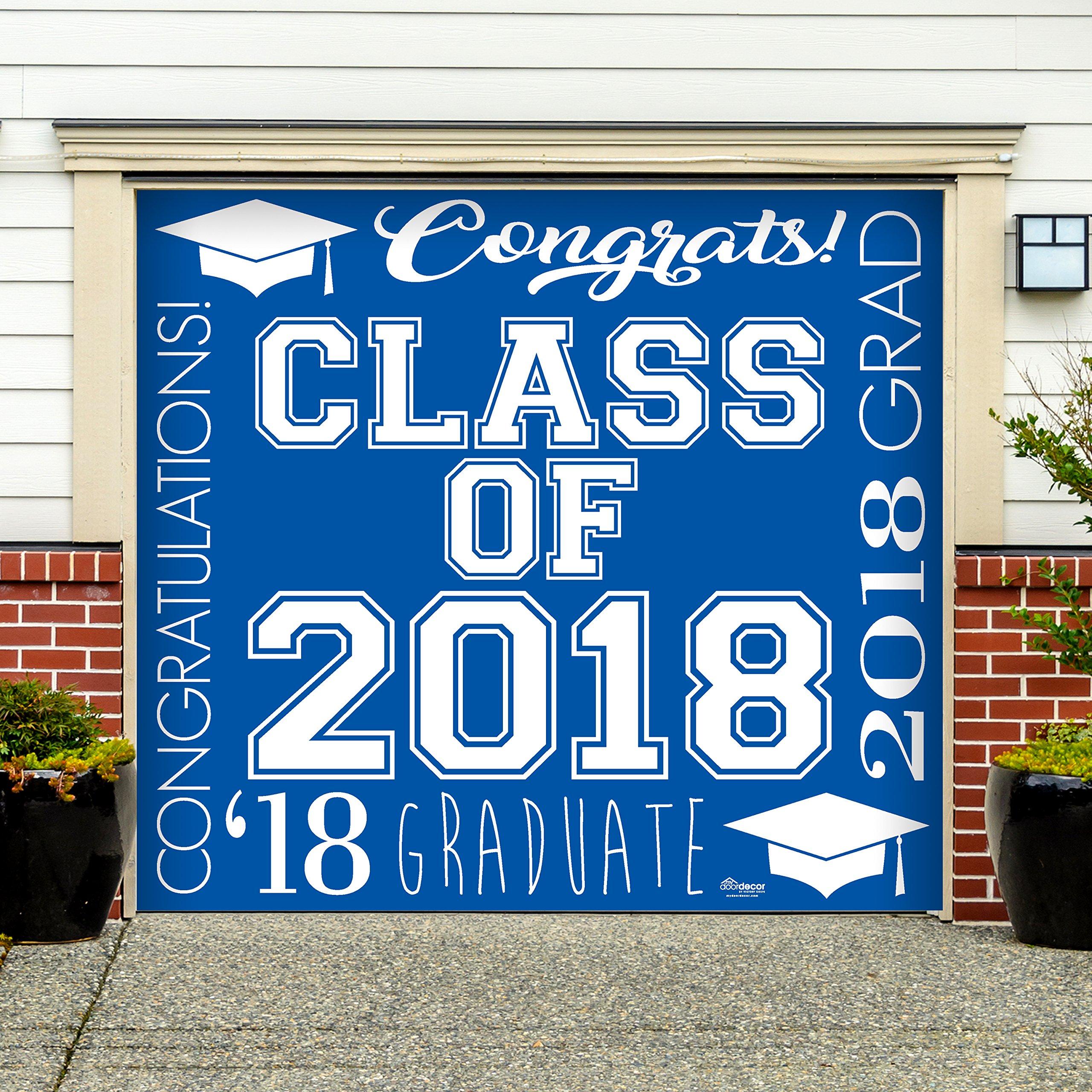 Victory Corps Collage Blue - Outdoor Graduation Garage Door Banner Mural Sign Décor 7'x 8' Car Garage - The Original Holiday Garage Door Banner Decor