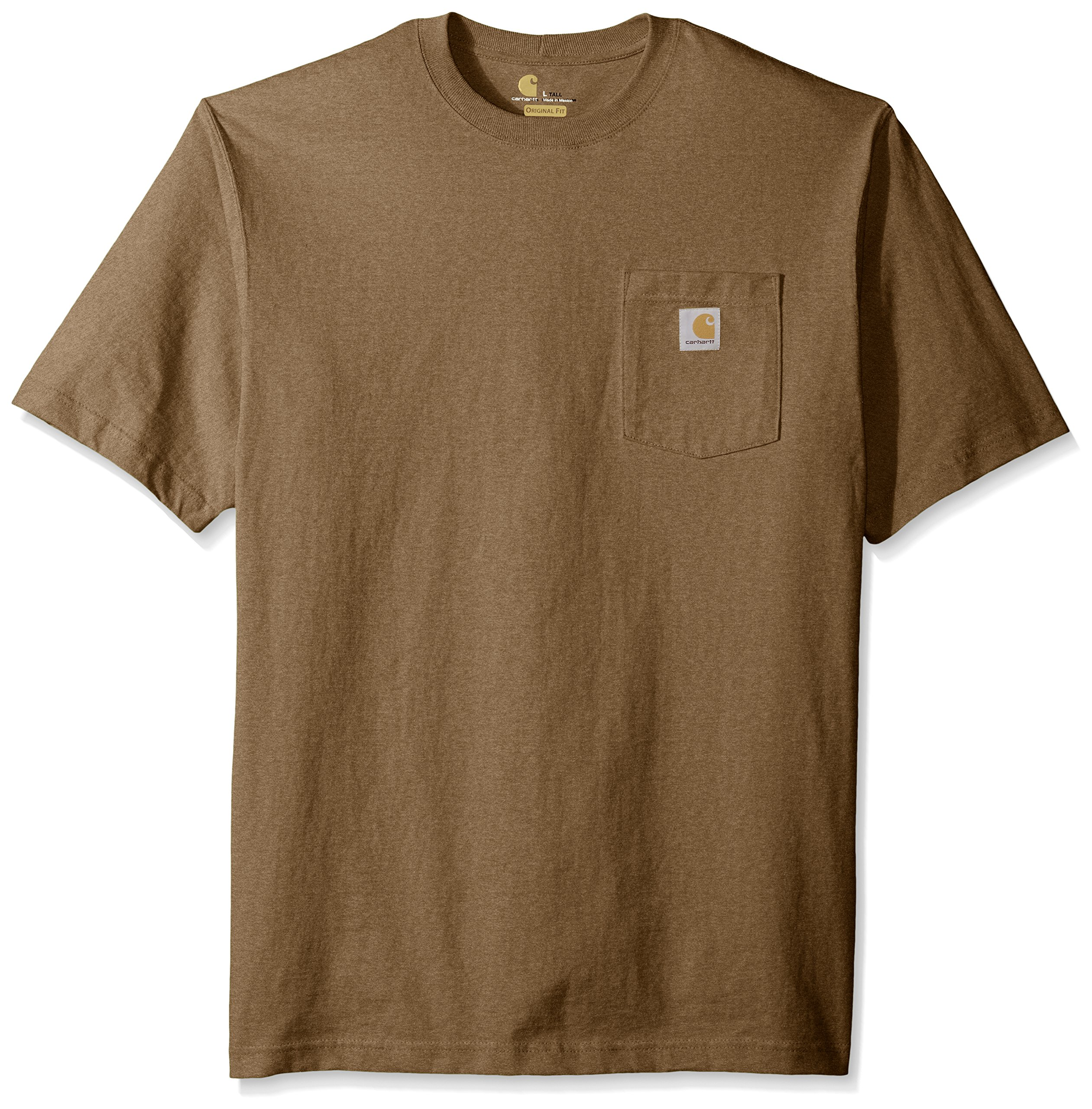 Carhartt Men's Big and Tall Workwear Pocket Short Sleeve T-Shirt Original Fit K87, Barrel Heather, X-Large