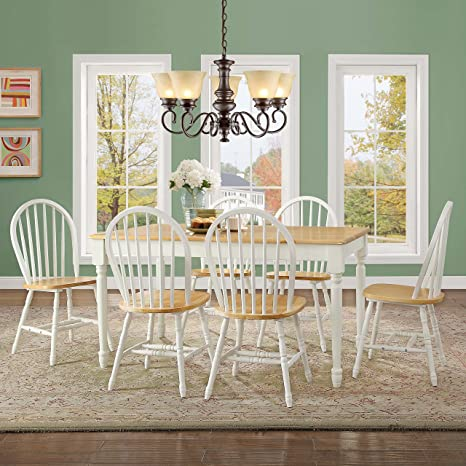 Better Homes and Gardens Windsor Kitchen Chairs Set of 2 Autumn Lane in  White and Oak