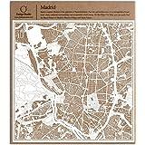 Madrid Recortes de papel del mapa Blanco 30x30 cm Arte de papel