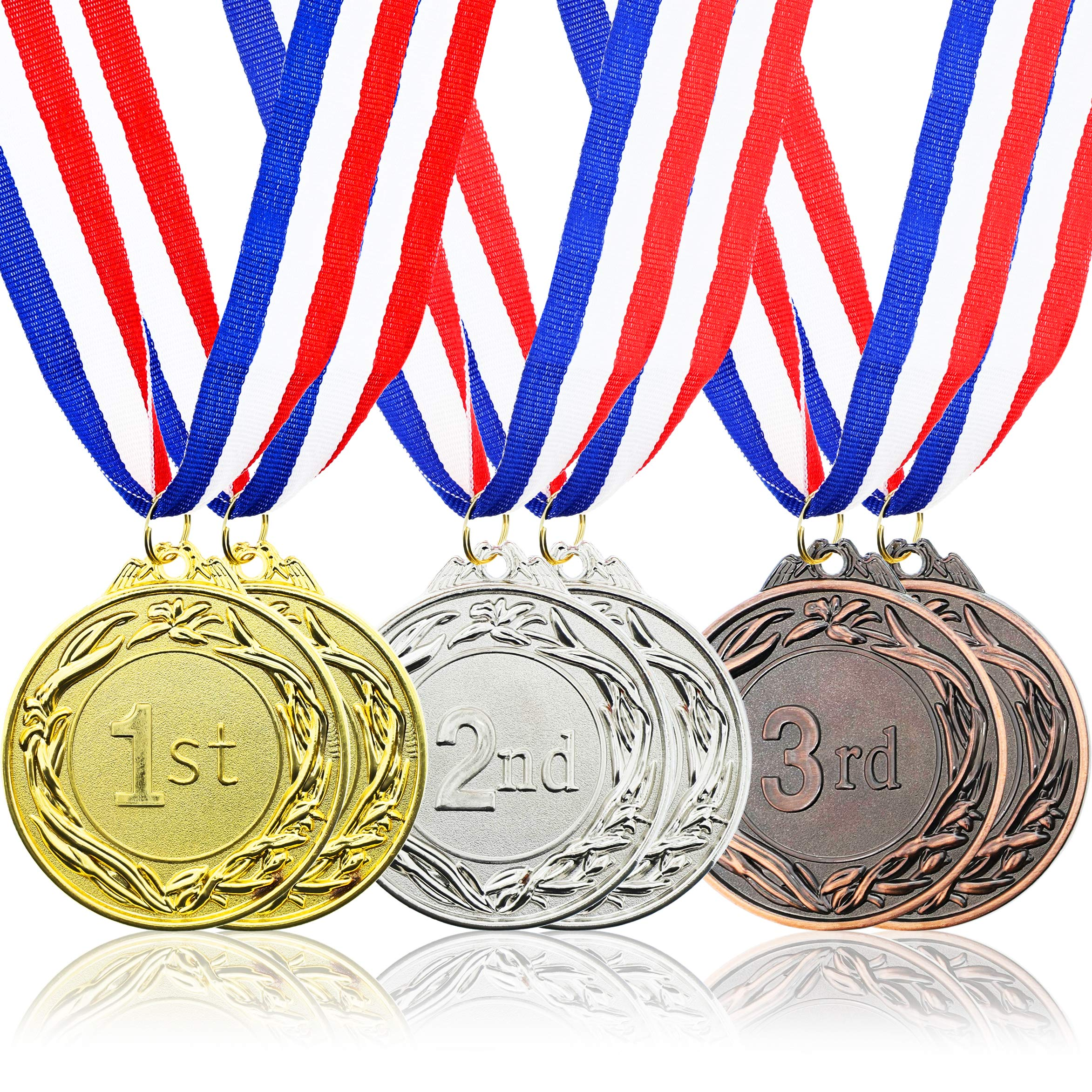 Juvale 6-Piece Set Metal Olympic Style Award Medals with Ribbons in Gold, Silver, and Bronze by Juvale
