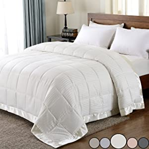 downluxe Lightweight Down Alternative Blanket with Satin Trim,King,Ivory