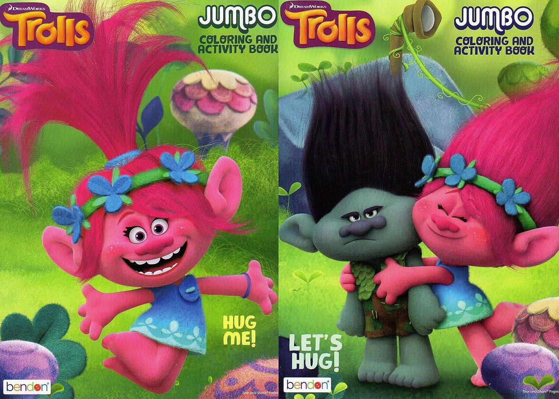 Set of 2 Books Dreamworks Trolls Jumbo Coloring and Activity Book - v1 Bendon