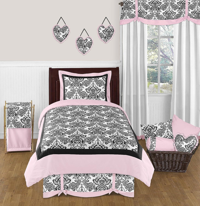 Sweet Jojo Designs 4-Piece Pink and Black Damask Sophia Children's Teens Bedding Girls Twin Set