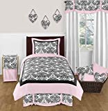 Sweet Jojo Designs Pink and Black Damask Sophia Childrens Teens Bedding 4 Piece Girls Twin Set