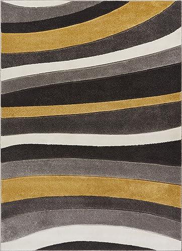 Well Woven Gold Rad Waves Modern Geometric Stripes 5'3″ x 7'3″ Area Rug